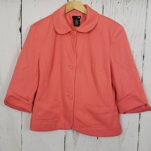 East 5th size 12 salmon 3/4 sleeve blazer